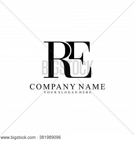 Re Initial Letters Monogram Logo,isolated On White Background