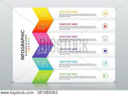 Modern Infographic Business Template And Data Visualization With 6 Options. Design Element Can Be Us