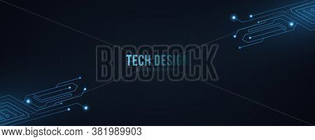 High Technology Abstract Background With Computer Circuit. Futuristic Modern Design. Glowing Blue Ne