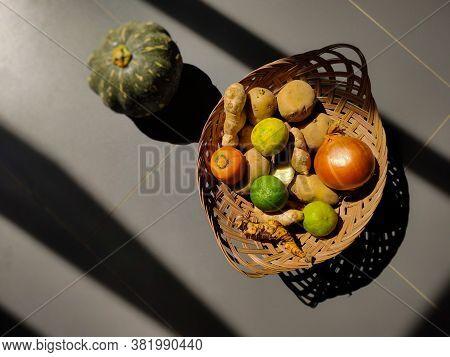 Image Of Vegetables Inside Basket Background. Stock Photo.
