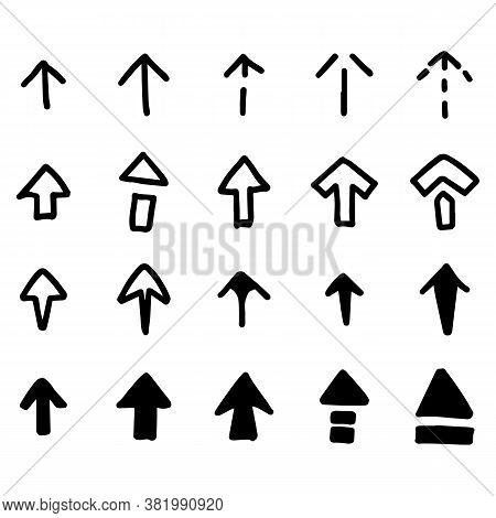 Black Color Doodle Handdrawing In Arrow Shape On White Background
