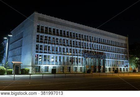 Ljubljana, Slovenia - August 13, 2020: The Night View At The National Parliament In Ljubljana, The C