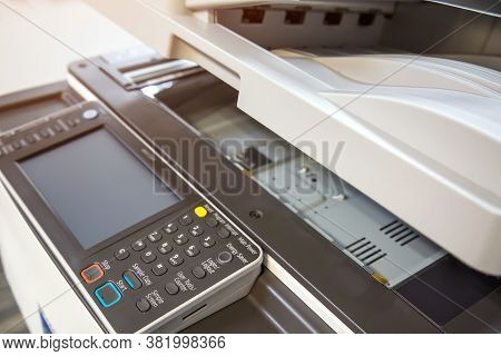 Cloceup Bottom Panel Of The Photocopier Or Xerox Printer Machine Is Office Work Tool Equipment In Co