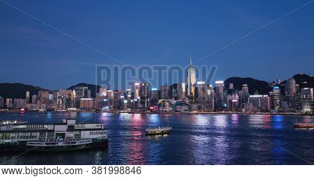 Victoria Harbor, Hong Kong 30 July 2020: Hong Kong city at night