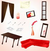pieces of Interior collection in red and brown poster
