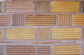 Closeup of unusual brick wall - background texture poster
