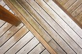 Wooden decking at various heights in aged timber poster