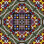 Colourful seamless stained glass window panel tile poster