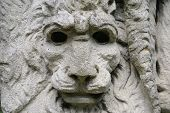 Sculpture. Statue. Statue of lion's head. Shape. Stonework statue or sculpture. poster