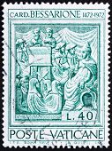 a stamp printed in the Vatican shows Johannes Cardinal Bessarion, Latin Patriarch of Constantinople, circa 1972 poster