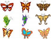 An Illustration of Butterfly Icons with Clipping Path poster