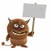3d cartoon cute furry brown alien monster holding placard poster
