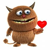 3d cartoon cute love furry brown alien monster poster