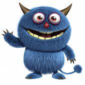 3 d cartoon cute blue furry alien poster
