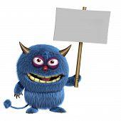 3 d cartoon cute blue furry alien holding placard poster