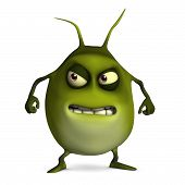 3 d cartoon cute green virus monster poster