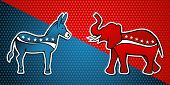 USA elections Democratic vs Republican party in sketch style over stars background. Vector file layered for easy manipulation and custom coloring. poster