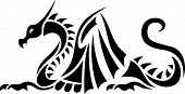 Sea Asian Dragon Silhouette - Black Tattoo Vector poster