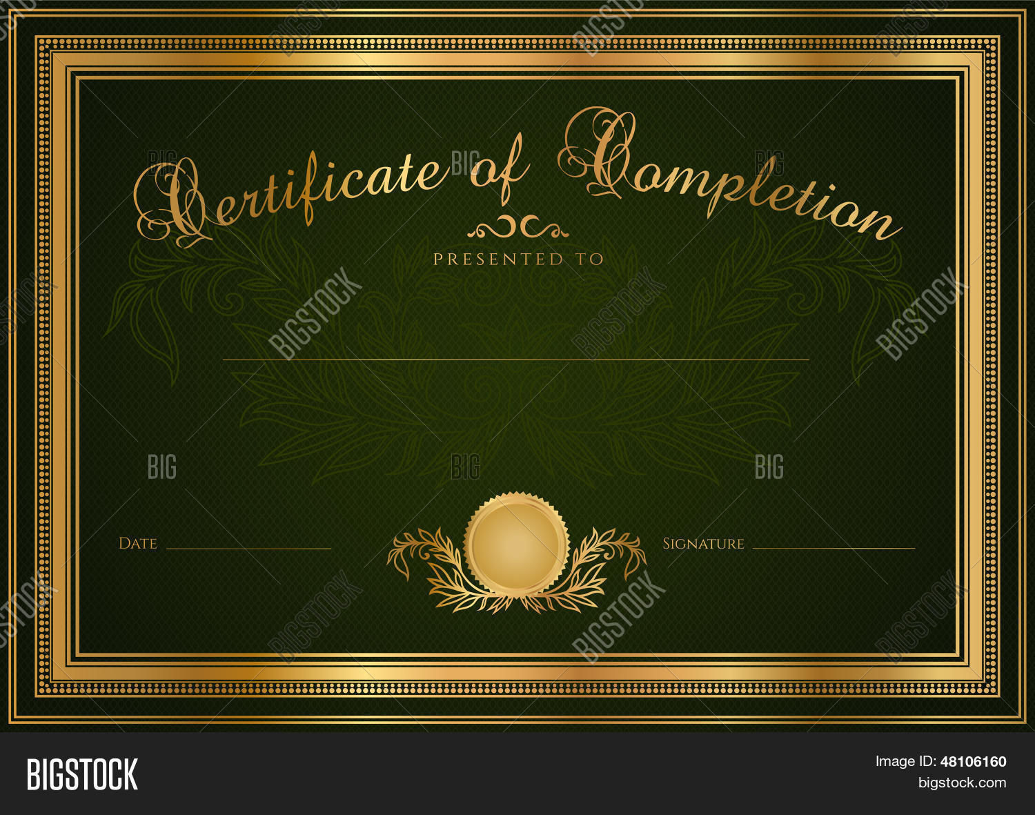 Dark green certificate diploma vector photo bigstock dark green certificate diploma template background design with pattern border xflitez Choice Image