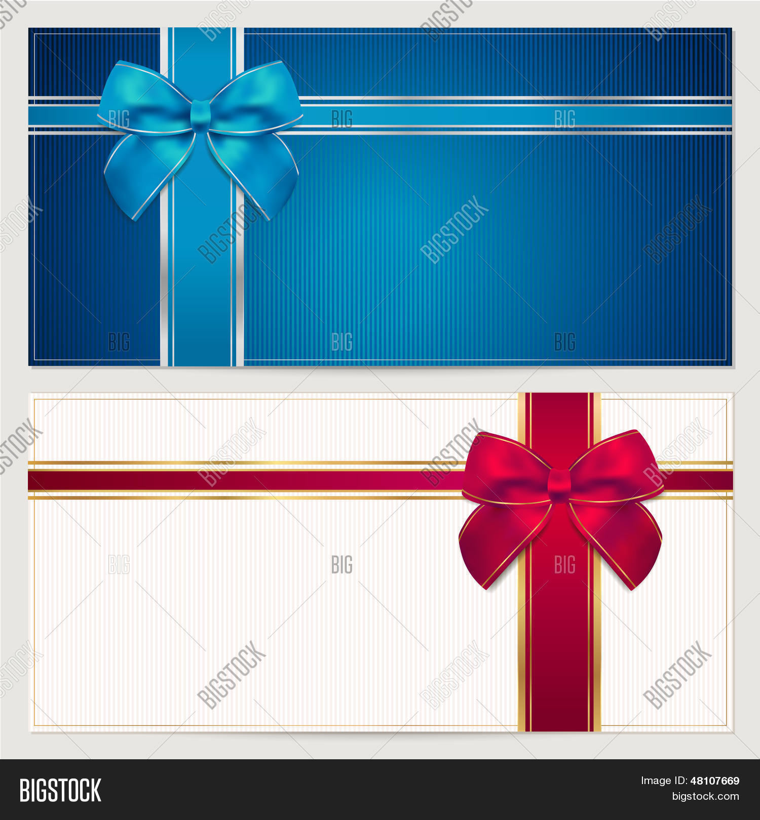 Gift voucher coupon template vector photo bigstock gift voucher coupon template with blue and red bow ribbons yadclub Image collections