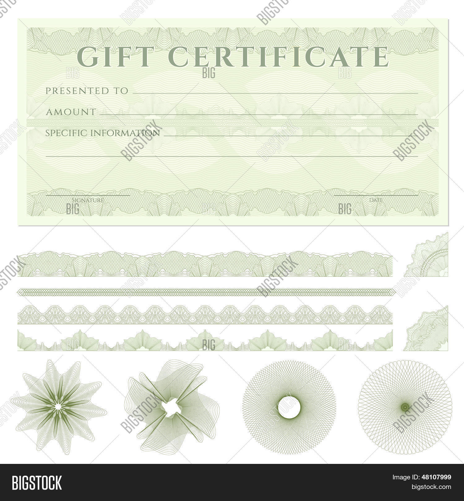 Gift Certificate (voucher / Coupon) Template (banknote, Money, Currency,  Cheque  Check Voucher Template