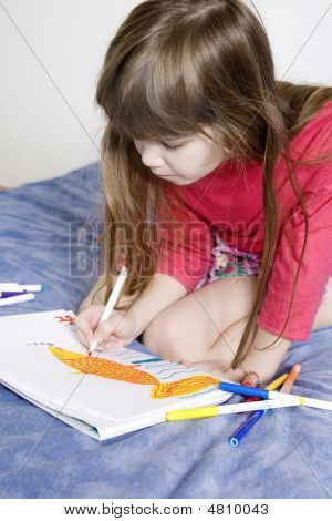 Little Cute Smiling Girl Seven Years Old Drawing Scetch