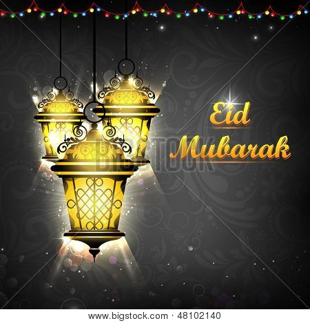 illustration of illuminated lamp on Eid Mubarak background poster
