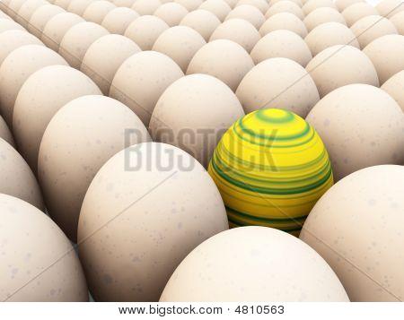Easter egg amongst regular eggs for difference concepts. poster