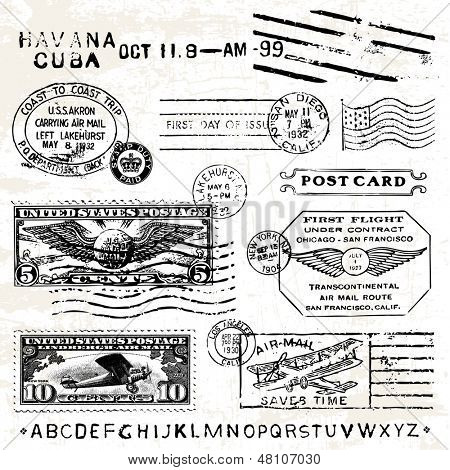 Vector Retro Air Mail Stamps. Great for vintage designs.