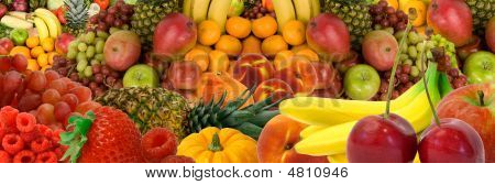 This is a panorama display of various fruits. poster
