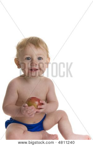 Happy Baby Holds Apple