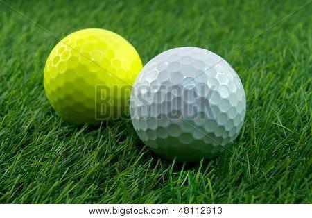 A pair of golf balls