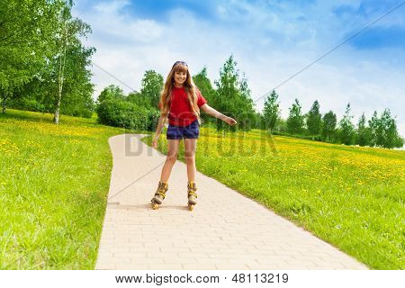 Girl Scatting In The Park