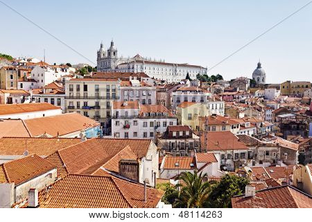 View of Alfama district with the Monastery of Sao Vicente de Fora and the baroque church of Santa Engracia