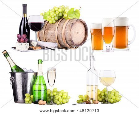 champagne, red and white wine,beer
