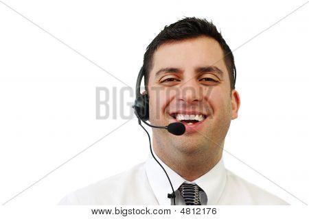 Smiling Customer Service Man