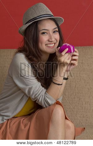 Asian Woman And Gift