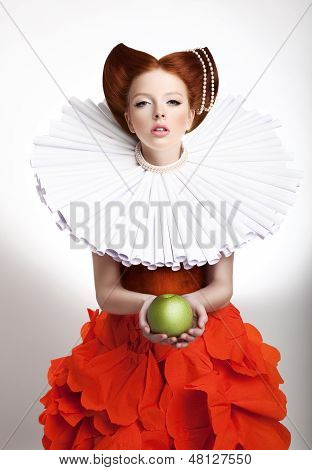 Retro Style. Portrait Of Styled Redhead Woman Duchess In Vintage Frill