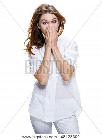 Young surprised beautiful woman isolated on white background