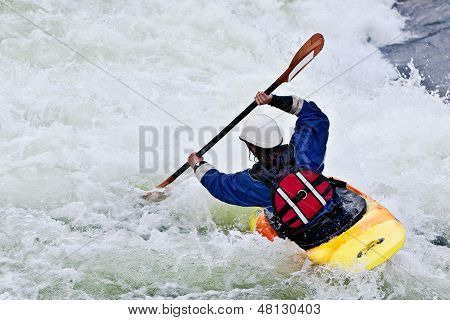 active female kayaker