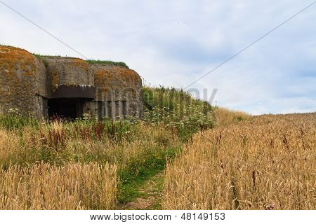 Old German Bunker In Normandy, France