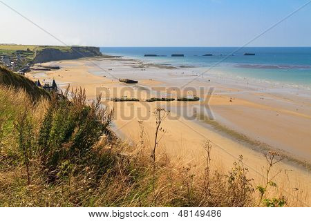 Normandy Landings, Remains Of Artificial Port At Arromanches-les-bains, France