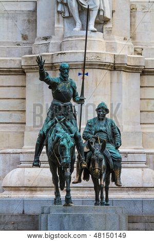 Madrid, Don Quijote And Sancho Panza Statue, Spain