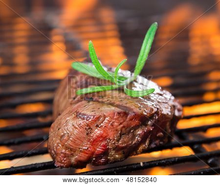 closeup of steak on a grill