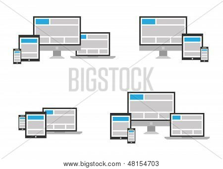Fully responsive web design icon in different positions
