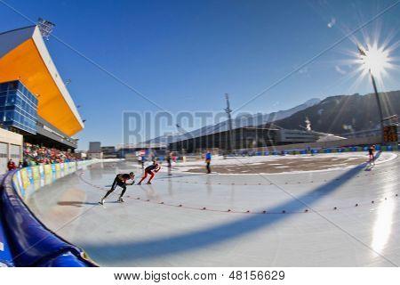INNSBRUCK, AUSTRIA - JANUARY 16 Rukke Henrik Fagerli (Norway) and Toshihiro Kakui (Japan) compete in the men's 1500 speed skating event on January 16, 2012 in Innsbruck, Austria.