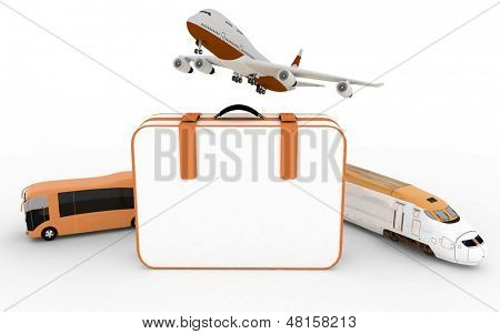 traffic resources with suitcase, 3d  render illustration on white background