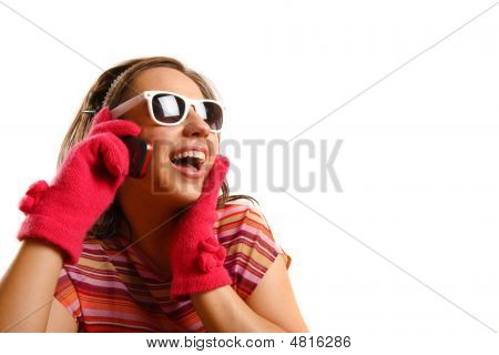 Attractive Beautiful Young Woman Wearing Sun Glasses