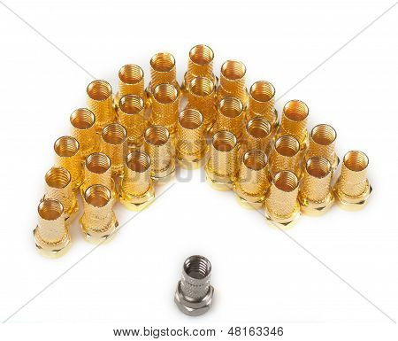 Golden F Connectors And One Silver Connector Isolated On White Background