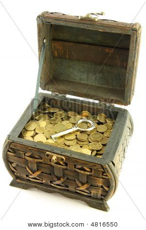 Chest With Coins And Key